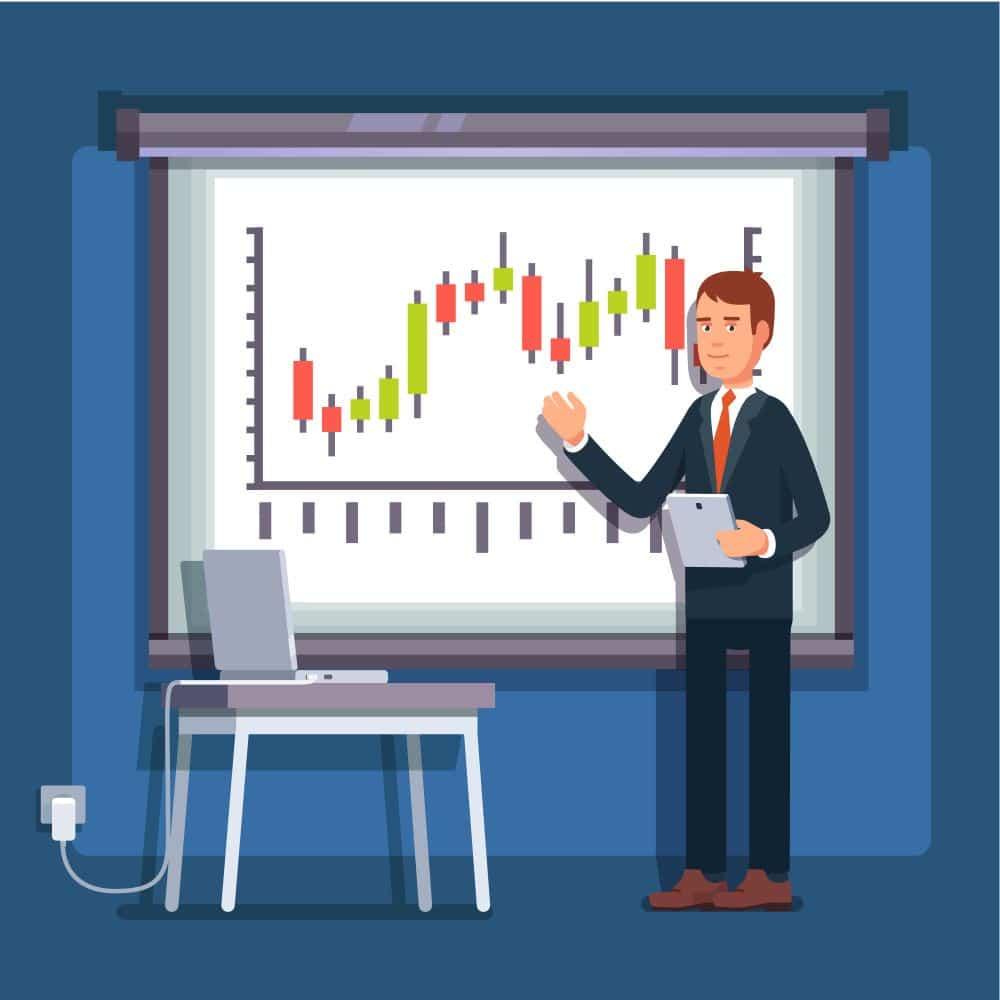 Grafik mit Mann, der Chart erklärt