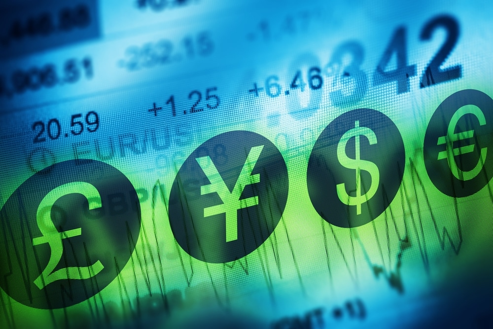 Grafik mit Währungssymbolen und Zahlen