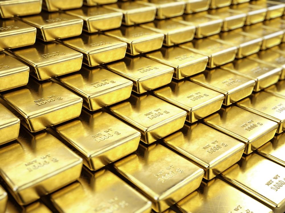 Gestapelte Goldbarren