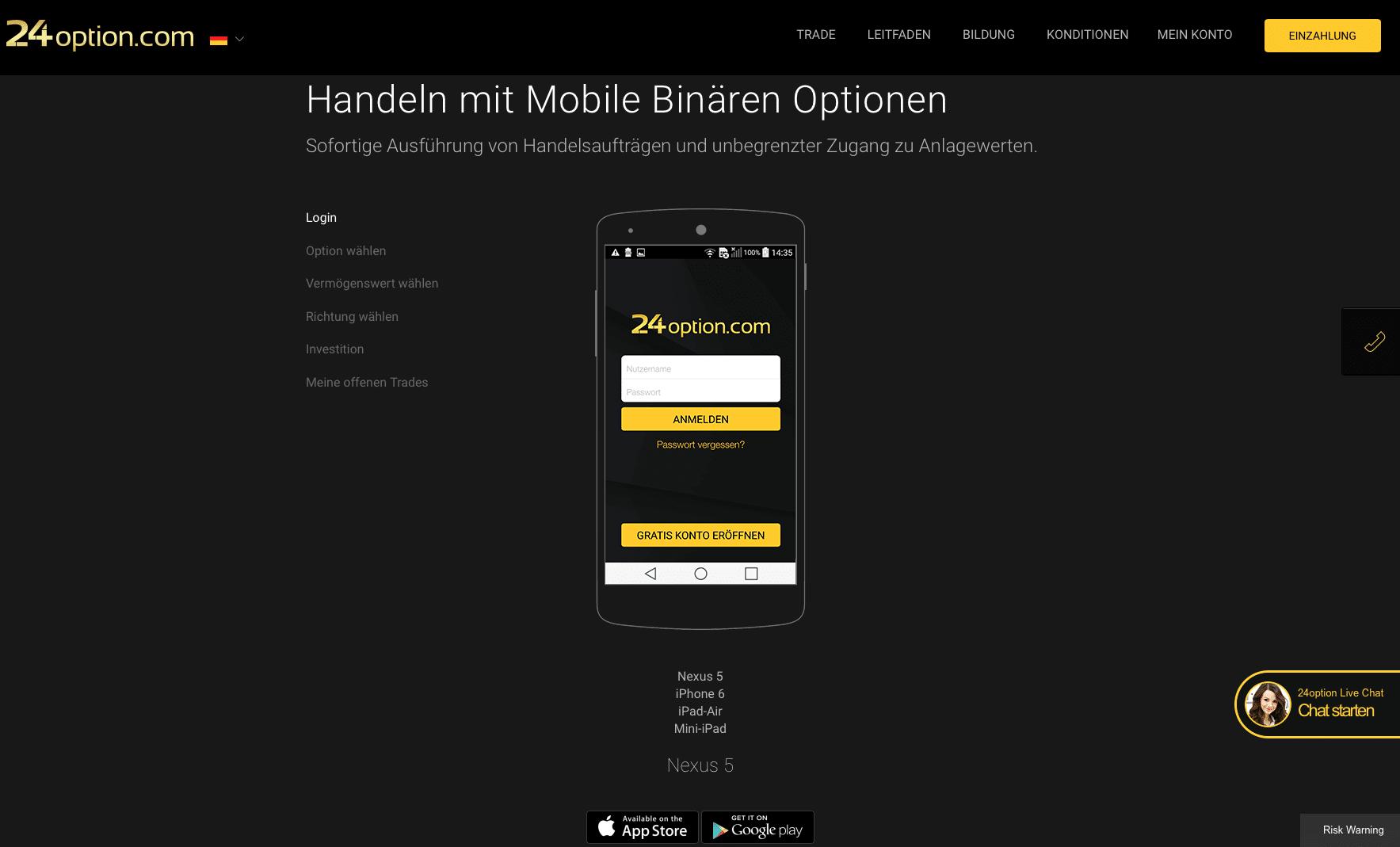 24option mobile Trading
