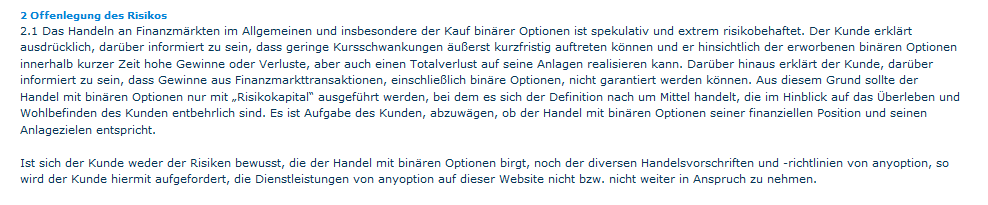 Offenlegung des Risikos bei anyoption