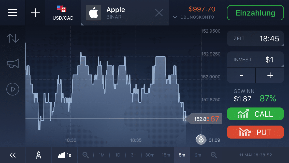 Chart von Apple in der IQ-Option-App