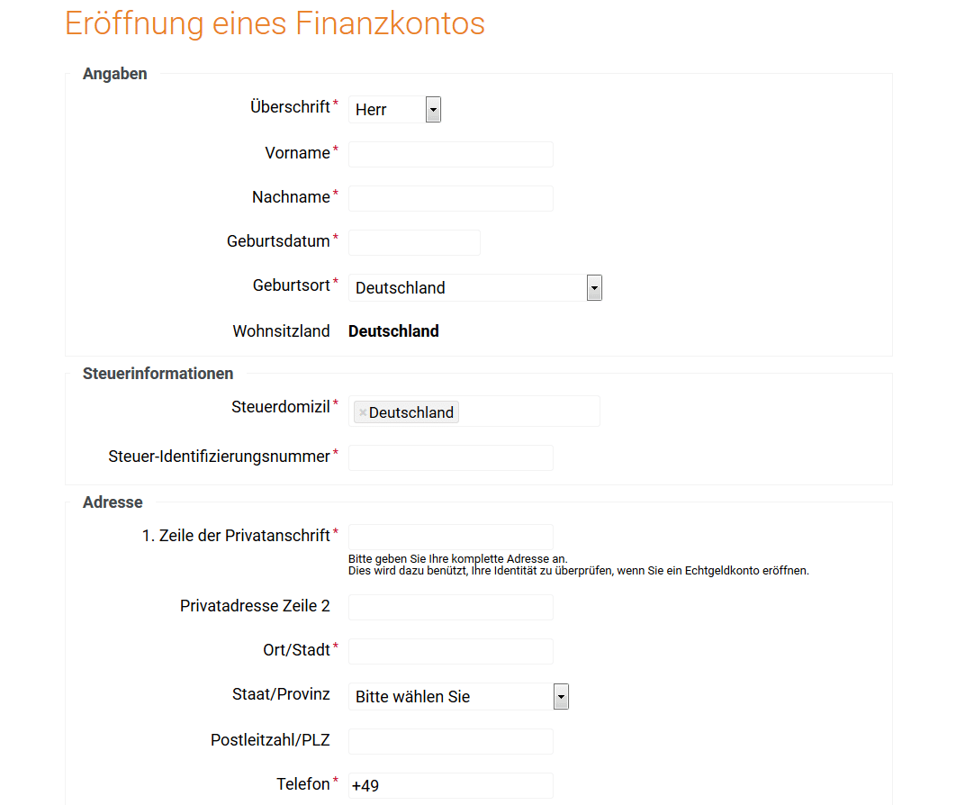 Kontoeröffnung bei Binary.com