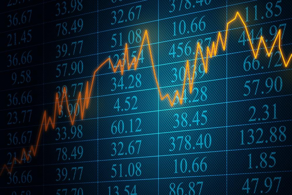 Kurschart mit seitlich verlaufendem Aktienkurs und Kursdaten im Hintergrund