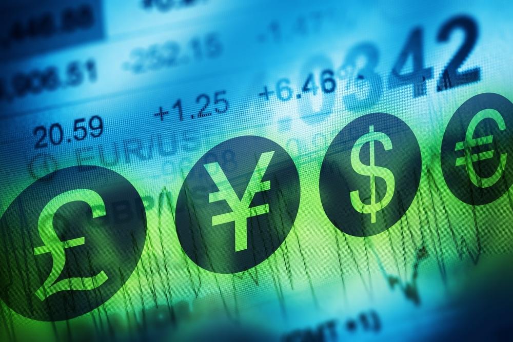 Symbole verschiedener Währungen als Zeichen des Devisenhandels