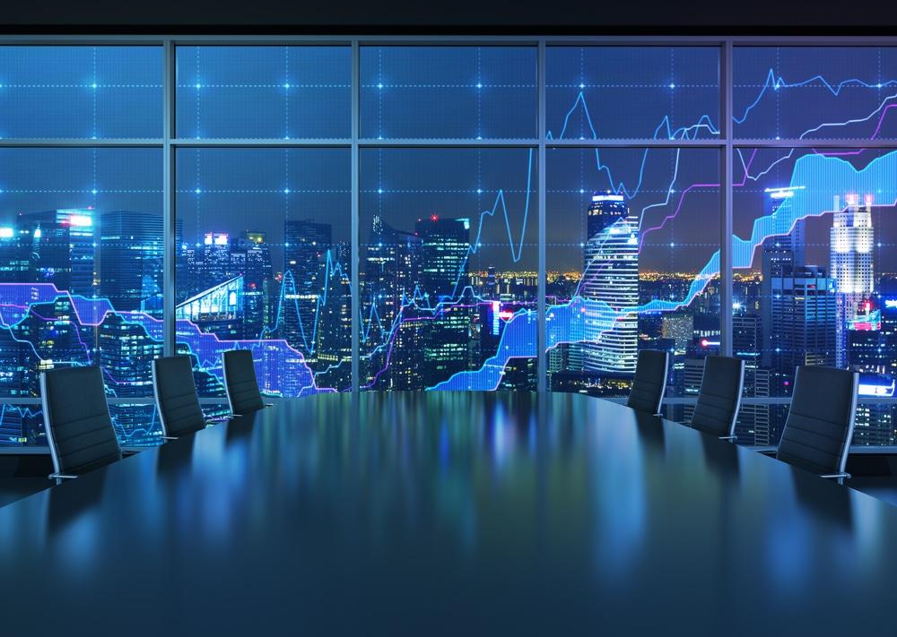 Aktienchart an einem riesigen Bildschirm