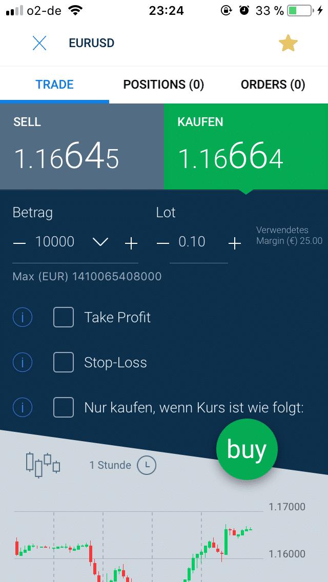 Handelsfenster der AvaTradeGO-App auf iOS
