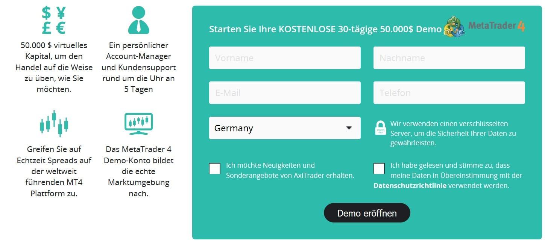 Online-Formular zur Anmeldung eines Demokontos bei AxiTrader