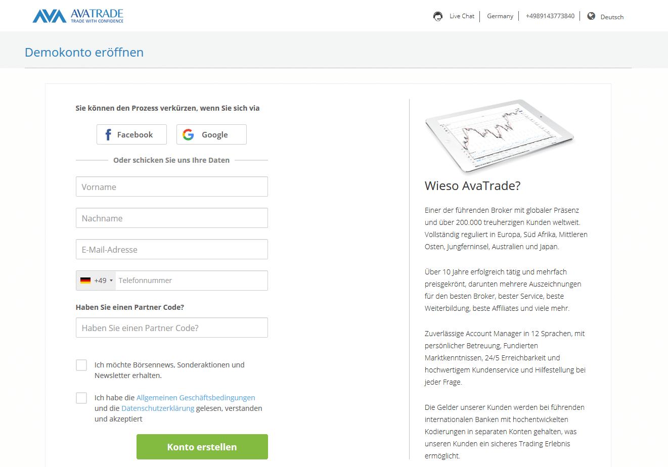 Online-Formular zur Eröffnung eines Demokontos bei AvaTrade
