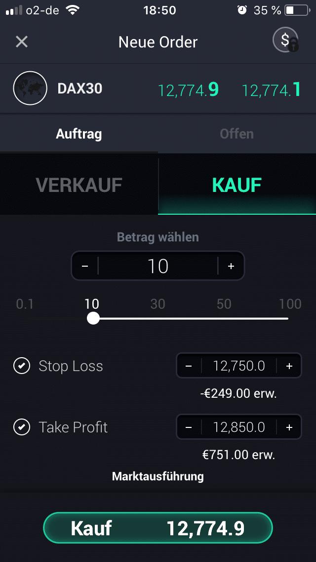 Position in der GKFX Trading-App eröffnen