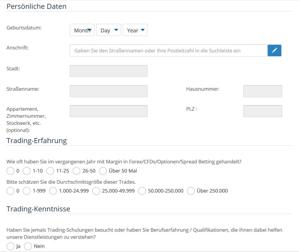 Schritt 2 des Online-Formulars zur Anmeldung bei AvaTrade