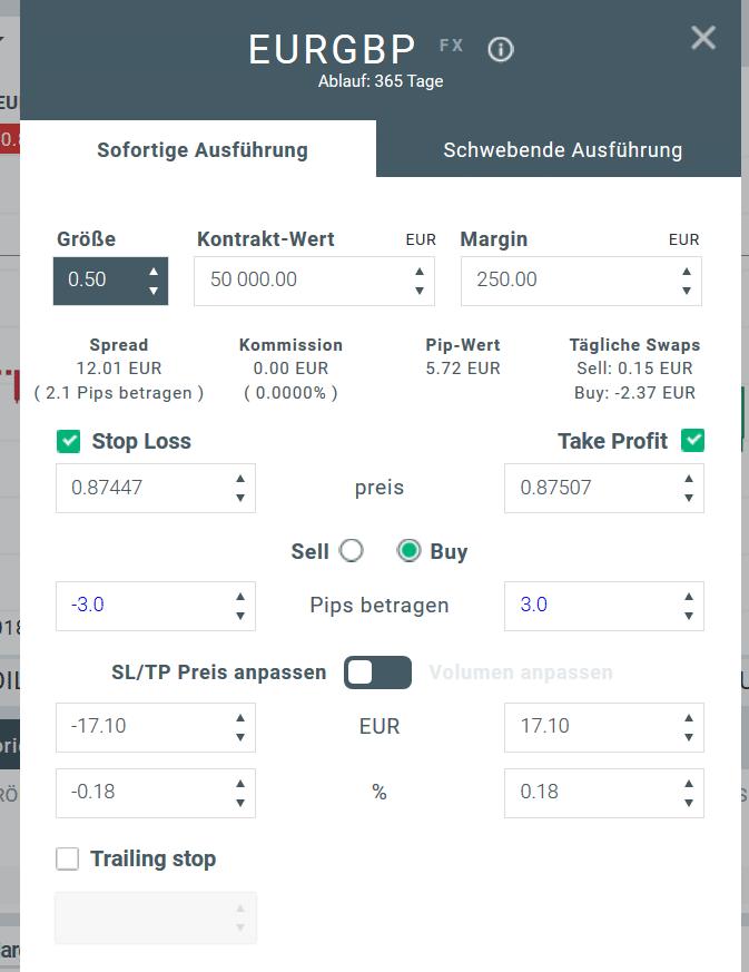 Ordermaske zum Währungspaar EUR/GBP in xStation 5