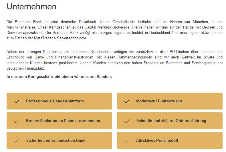 Auszug aus den Unternehmensinformationen der Bernstein Bank