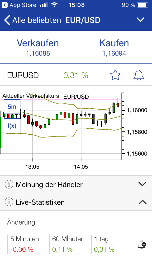 Ordermaske von EUR/USD in der Plus500 Trading-App