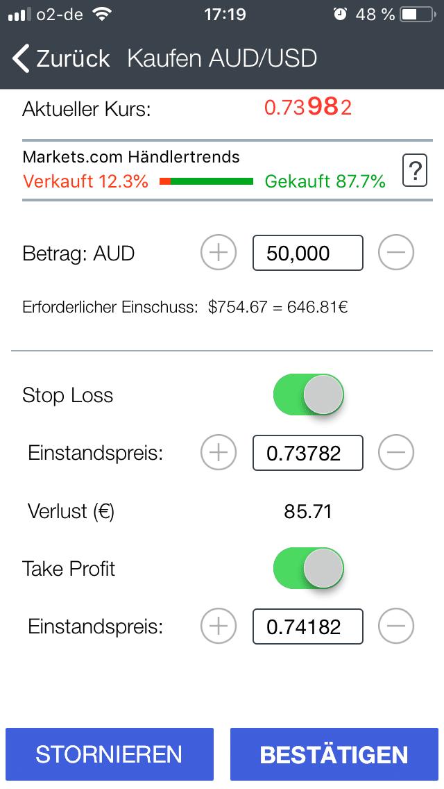 Ordermaske des Währungspaares AUD/USD in der Trading-App von Markets.com