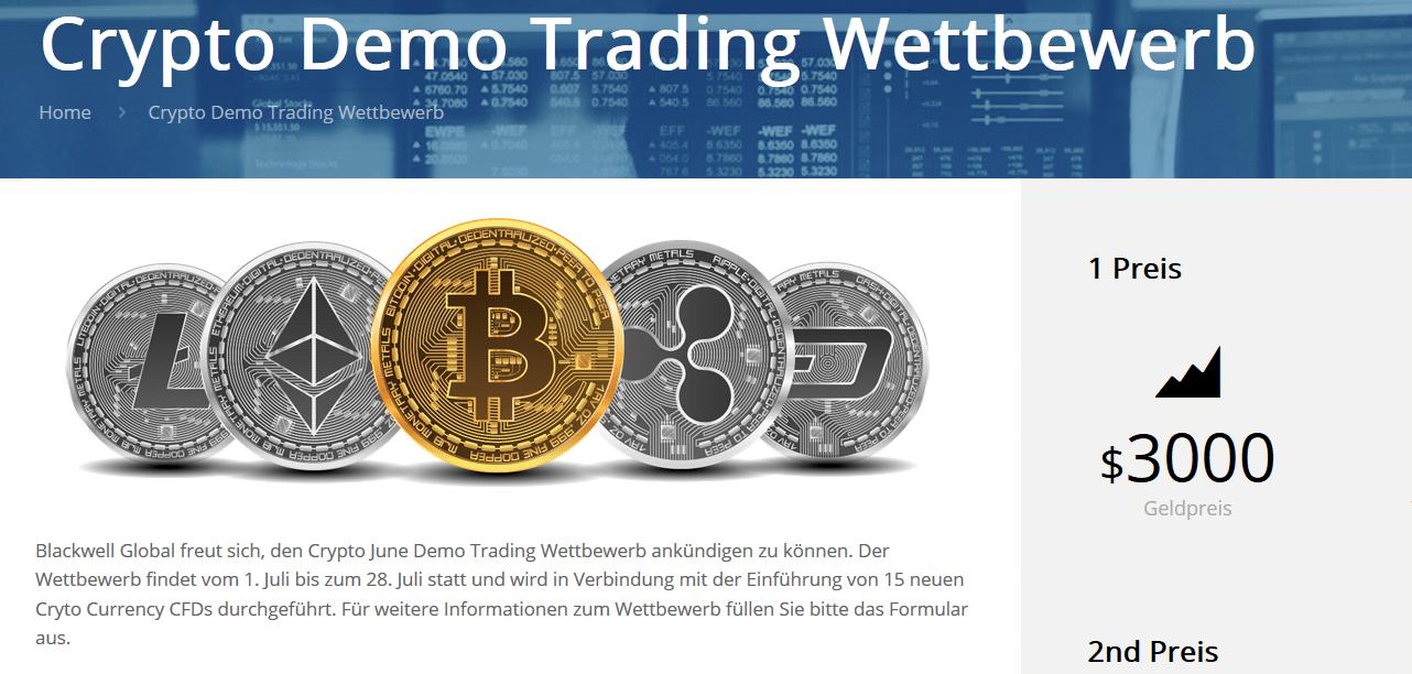 Infoseite von Blackwell Global zum Crypto Demo Trading Wettbewerb
