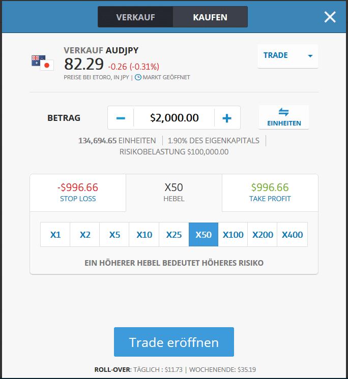 Ordermaske des Währungspaares AUD/JPY im WebTrader von eToro
