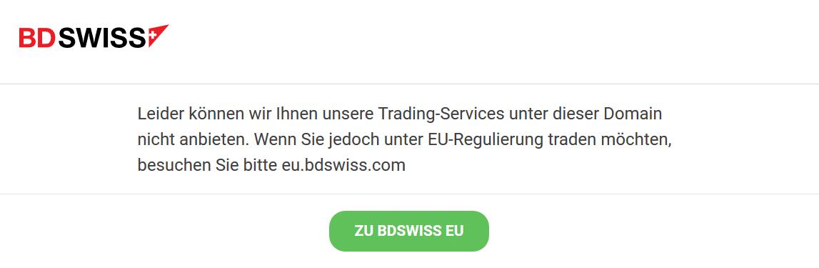 Meldung von BDSwiss zur Weiterleitung an die europäische Domain