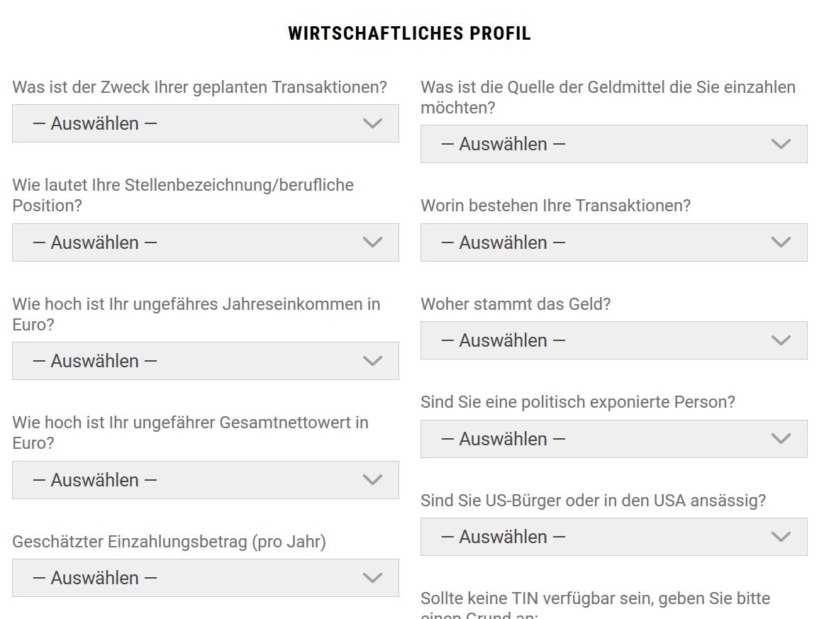 """Online-Formular """"Profil"""" zur Anmeldung bei BDSwiss"""