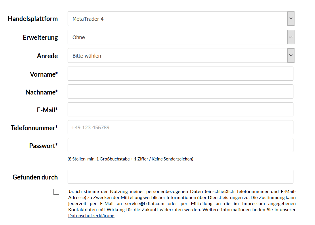 Online-Formular zur Anmeldung eines Demokontos bei FXFlat