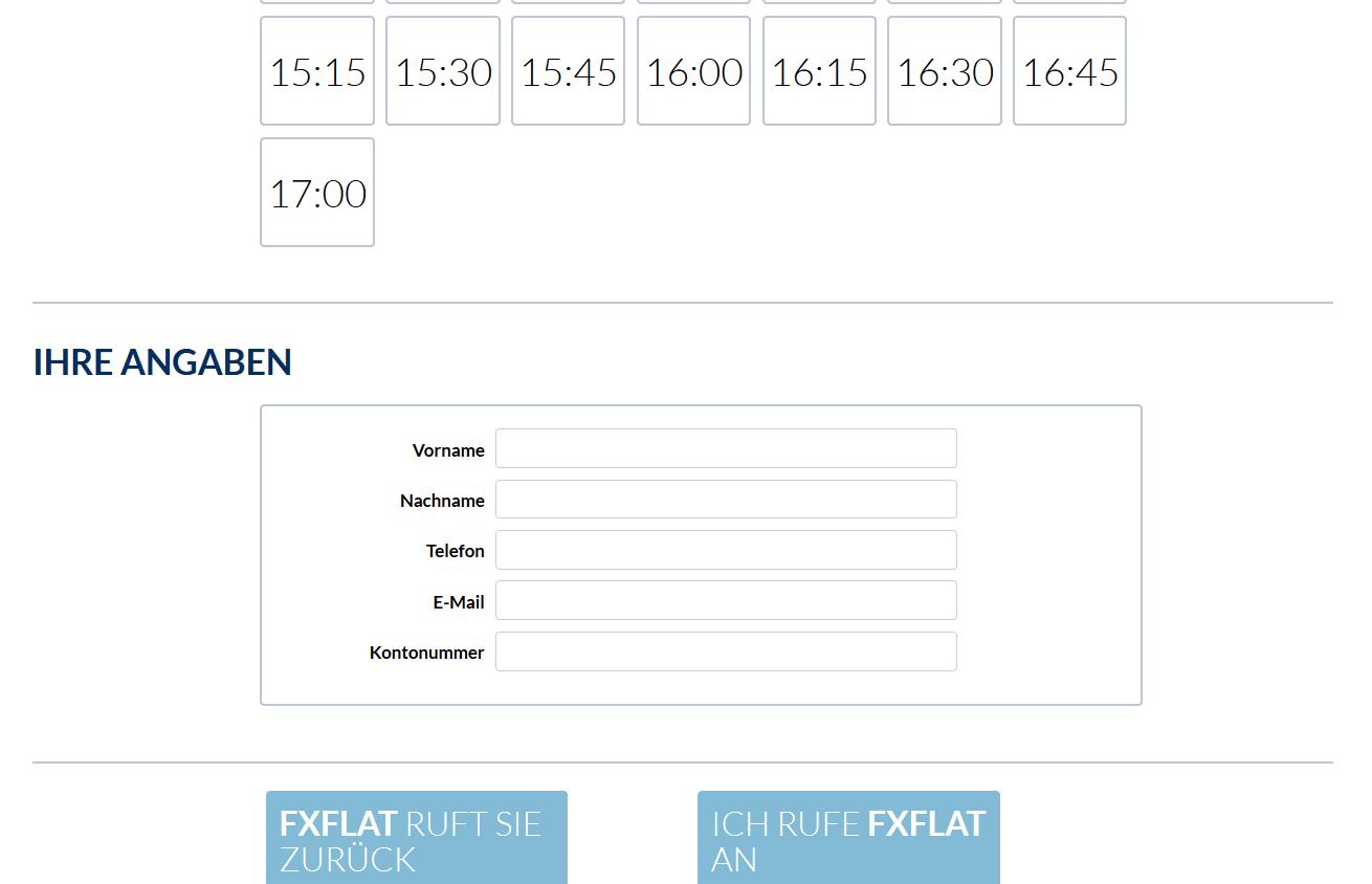Online-Formular zum Rückruf anfordern bei FXFlat