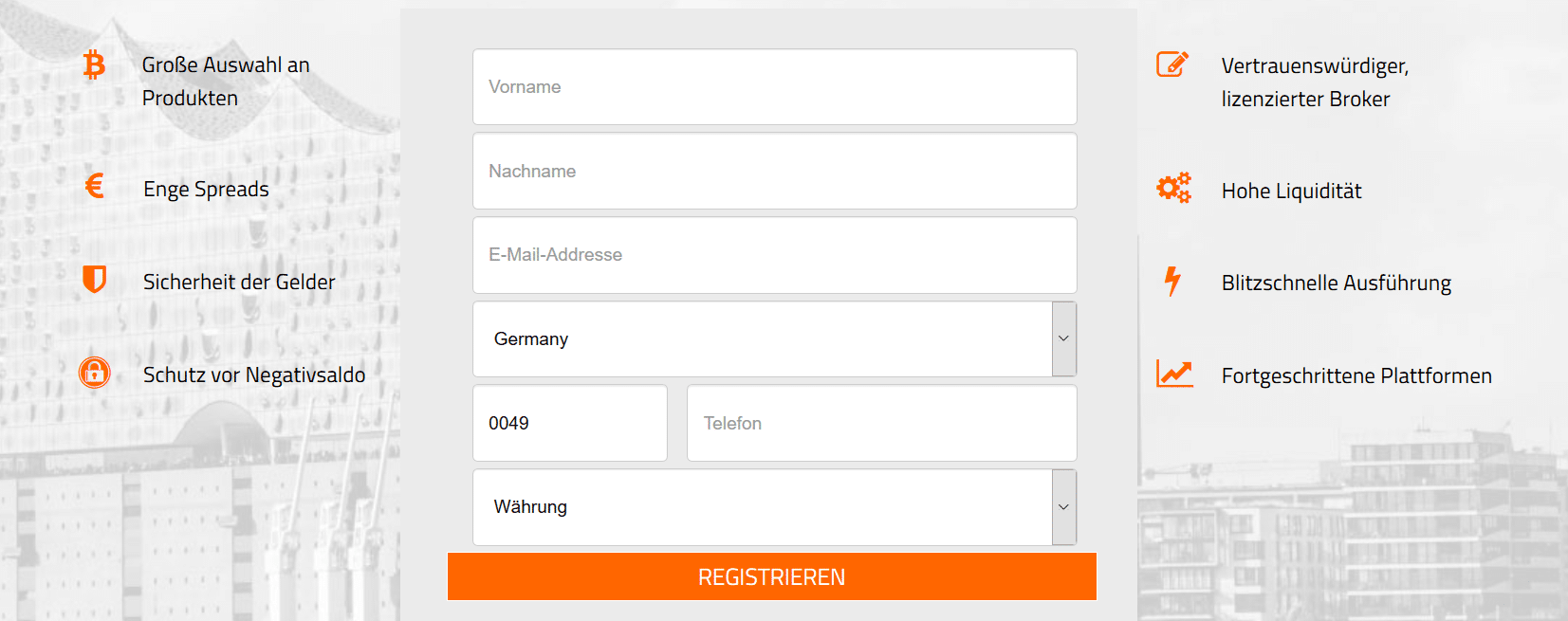 Online-Formular zur Anmeldung für ein Demokonto bei GBE brokers