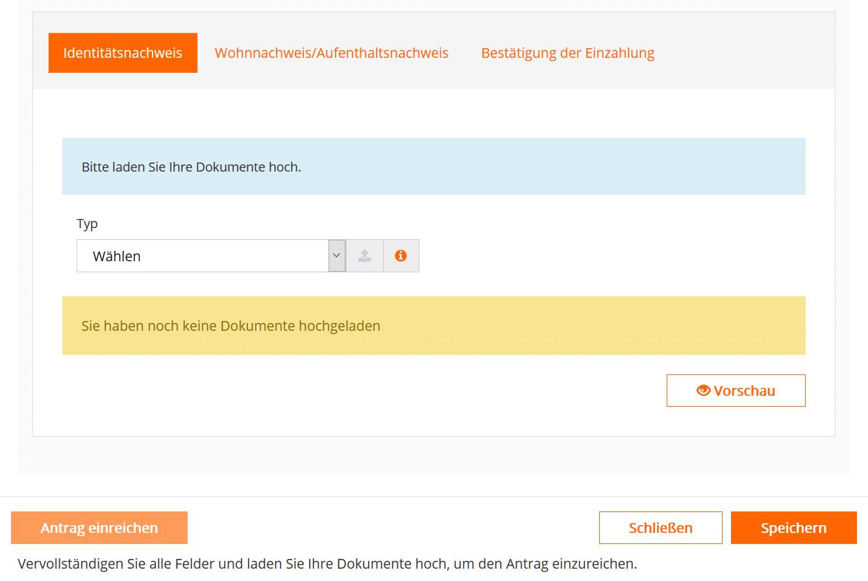 Kundenbereich zum Dokumente hochladen bei GBE brokers