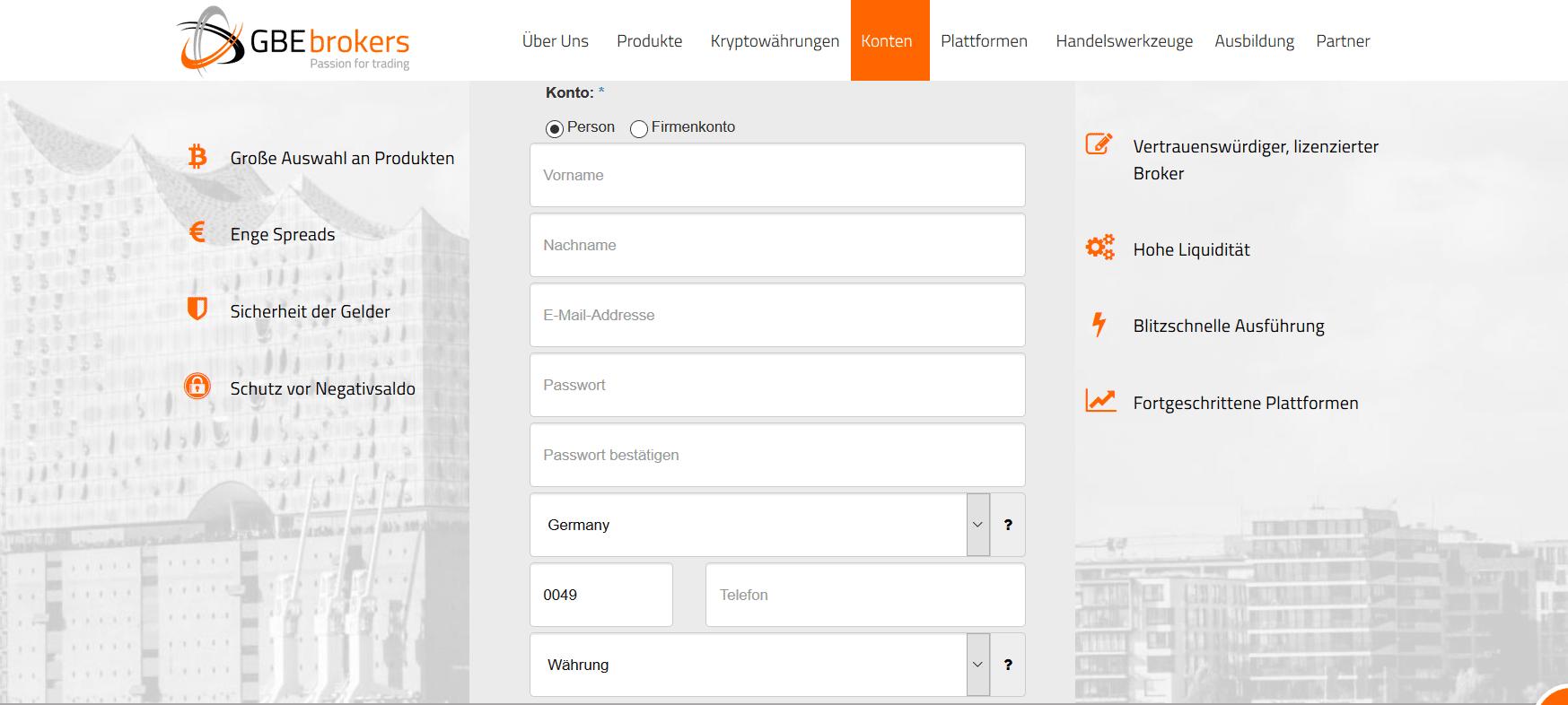 Teil eins des Online-Formulars zur Anmeldung eines Live-Kontos von GBE brokers