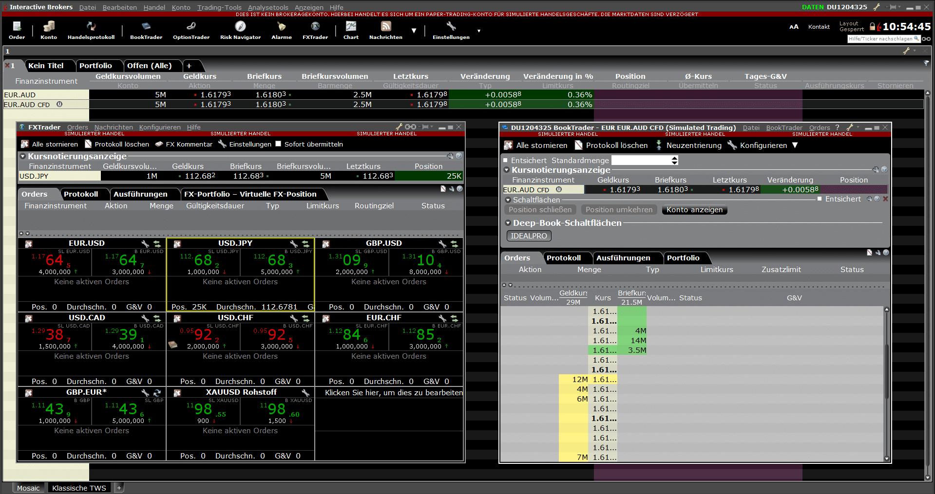 FX Trader und Book Trader in der Trading-Plattform von Interactive Brokers