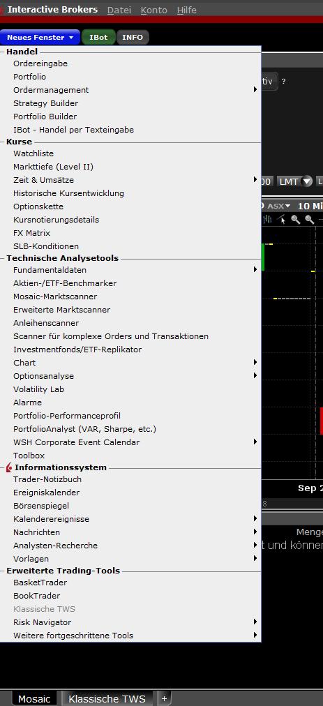 """Übersicht """"Neues Fenster"""" in der Trading-Plattform von Interactive Brokers"""