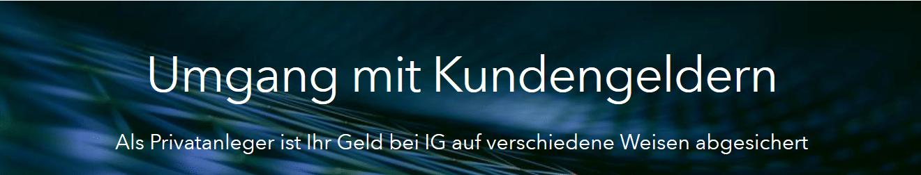 IG Markets Kundengelder Banner