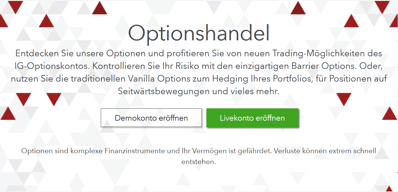 Optionshandel bei IG Markets